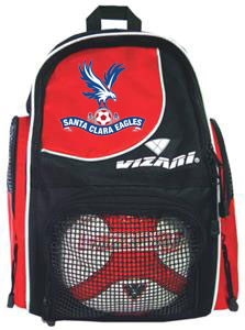 soccer red backpack